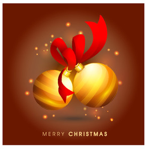 Elegant greeting card design with creative Xmas Balls on glossy brown background for Merry Christmas celebration.
