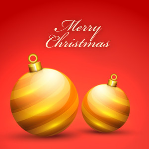 Elegant greeting card design with glossy Xmas Balls for Merry Christmas celebration.