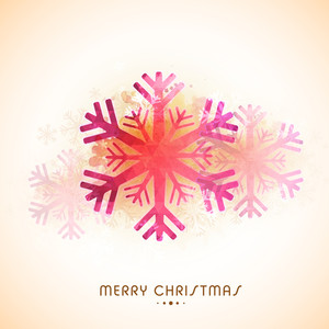 Colorful snowflakes decorated greeting card design for Merry Christmas celebration.
