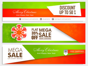 Sale website header or banner set with different discount offer for Merry Christmas and Happy New Year celebration.
