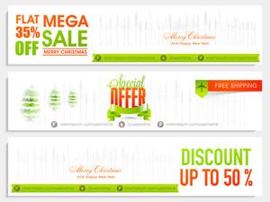 Mega Sale website header or banner set with different discount offer for Merry Christmas celebration.
