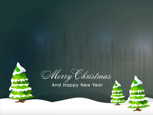 Glossy creative Xmas Trees on night background for Merry Christmas and Happy New Year celebration.