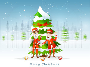 Two smiling Santa Claus wishing to each others for Merry Christmas on winter background.