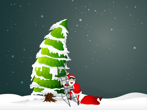 Happy Santa Claus ready to climb on snow covered Xmas Tree with ladder on winter background for Merry Christmas celebration.