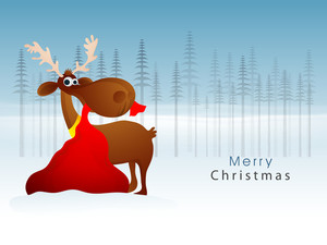 Creative illustration of reindeer holding red gift sack in mouth on fir trees decorated background for Merry Christmas celebration.