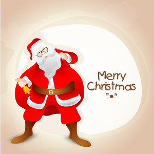 Merry Christmas celebration with Santa Claus ringing bell and holding big gift sack on shiny background.