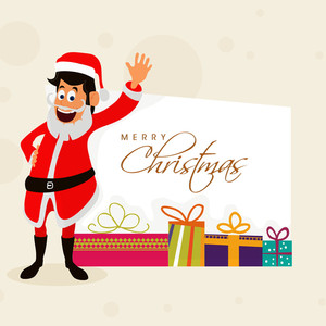 Elegant greeting card design with happy Santa Claus waving hand and colorful gifts for Merry Christmas celebration.