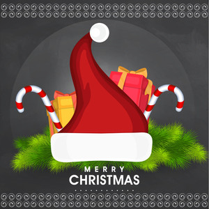 Beautiful greeting card design with glossy ornaments for Merry Christmas celebration on grey background.