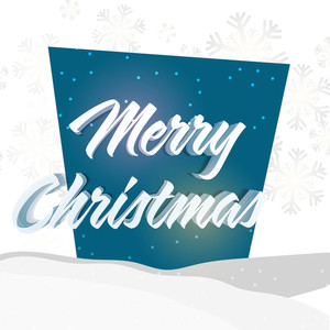 Greeting card design with 3D text Merry Christmas on snowflakes decorated background.