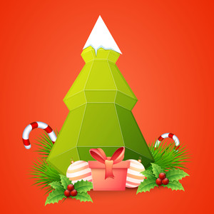 Creative origami Xmas Tree and glossy ornaments on orange background for Merry Christmas celebration.