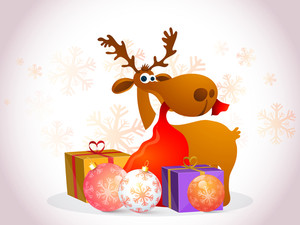Funny reindeer holding gift sack by mouth with Xmas Balls and gifts on snowflakes decorated glossy background for Merry Christmas celebration.