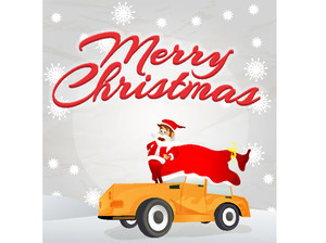 Merry Christmas celebration with Santa Claus standing on car.