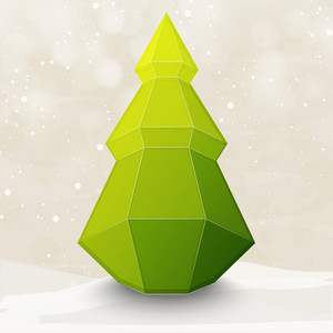 Creative origami Xmas Tree on shiny background for Merry Christmas celebration.