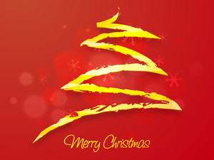 Creative Xmas Tree made by golden paint stroke on snowflakes decorated red background for Merry Christmas celebration.