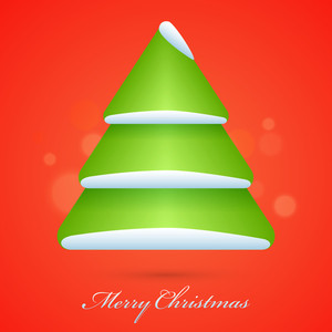 Glossy creative Xmas Tree on shiny orange background for Merry Christmas celebration.