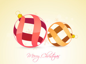 Creative Xmas Balls on snowflakes decorated glossy background for Merry Christmas celebration.