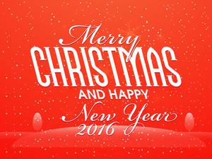 Greeting card design with creative winter background for Merry Christmas and Happy New Year 2016 celebration.