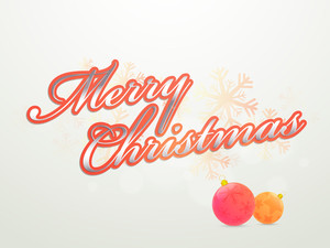 Glossy text Merry Christmas with Xmas Balls on snowflakes decorated background.