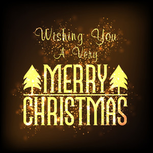 Elegant greeting card design with golden Xmas Tree on shiny brown background for Merry Christmas celebration.