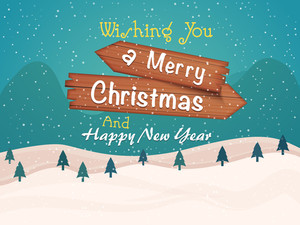 Merry Christmas and Happy New Year celebrations greeting card design with creative winter background.