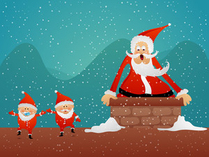 Cute Santa Claus going into home by chimney on winter background for Merry Christmas celebration.