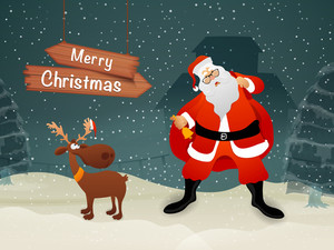 Cute Santa Claus holding gift sack
