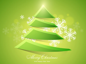 Elegant greeting card with glossy creative Xmas Tree on Snowflakes decorated shiny green background for Merry Christmas and Happy New Year celebrations.