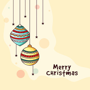 Elegant greeting card design decorated with colorful hanging Xmas Balls and stars for Merry Christmas celebration.