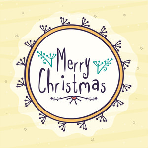 Stylish greeting card decorated with beautiful floral design for Merry Christmas celebration.
