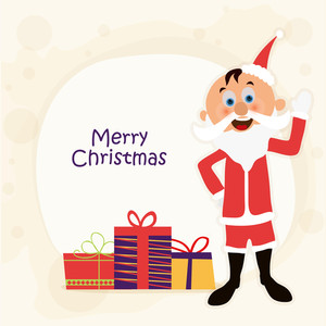 Cute Santa Claus waving his hand with colorful gifts for Merry Christmas celebration.