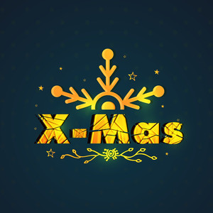 Elegant greeting card design decorated with creative golden text X-Mas and snowflake for Merry Christmas celebration.