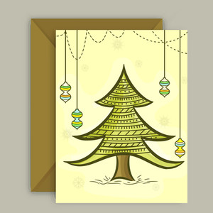 Xmas Tree and hanging Balls decorated greeting card with envelope for Merry Christmas celebration.