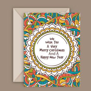 Colorful floral design decorated greeting card with envelope for Merry Christmas and Happy New Year celebration.