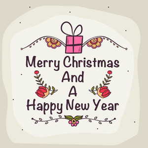 Beautiful floral design decorated greeting card for Merry Christmas and Happy New Year celebration.