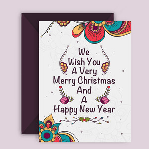 Beautiful floral design decorated greeting card with envelope for Merry Christmas and Happy New Year celebration.
