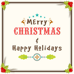 Merry Christmas and Happy New Year celebrations greeting card design with colorful ornaments.