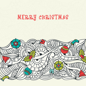 Merry Christmas celebration greeting card design with floral decoration and colorful ornaments.