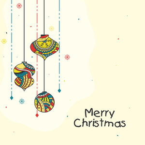 Beautiful greeting card with colorful floral design decorated Xmas Balls for Merry Christmas celebration.