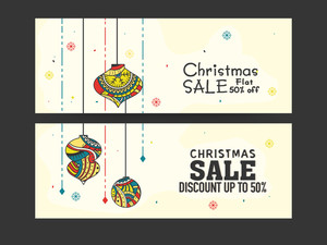 Stylish Sale website header or banner set with 50% discount offer for Merry Christmas celebration.