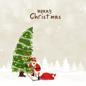 Merry Christmas celebration with cute Santa Claus climbing on colorful illuminated lights decorated Xmas Tree on shiny winter background.
