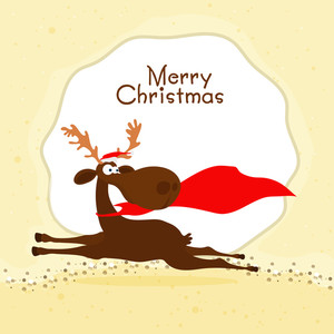 Greeting card design with cute running Reindeer for Merry Christmas celebration.
