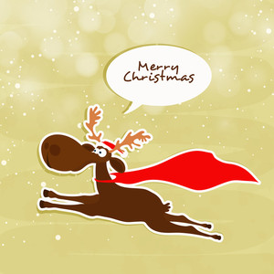 Cute funny Reindeer running on shiny background for Merry Christmas celebration.