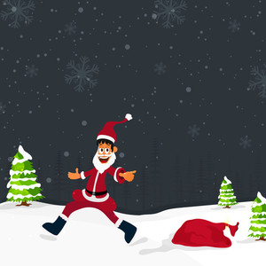 Illustration of happy Santa Claus running on winter background for Merry Christmas celebration.