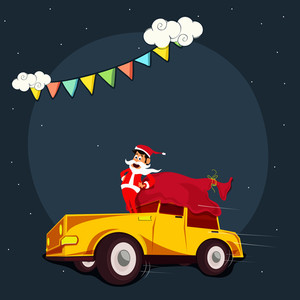 Merry Christmas celebration with Santa Claus standing on car and gift sack.