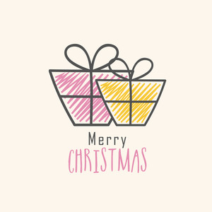 Elegant greeting card design with wrapped gifts for Merry Christmas celebration.