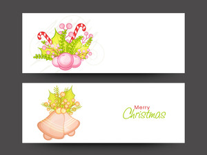 Shiny website header or banner set with beautiful ornaments for Merry Christmas celebration.