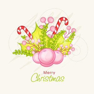 Greeting card design with Mistletoe and candy cane for Merry Christmas celebration.