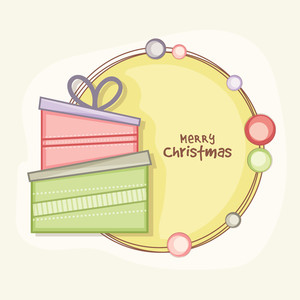 Greeting card design with colorful gifts for Merry Christmas celebration.