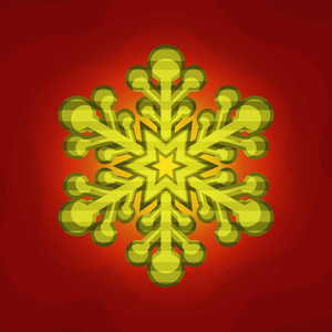 Creative glossy Snowflake on stylish background for Merry Christmas celebration.