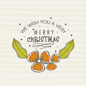 Creative flower decorated greeting card design for Merry Christmas celebration.